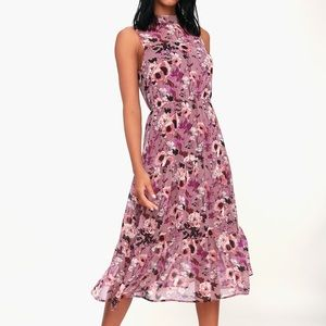 Lulu's In My Dreams Mauve Floral Print Midi Dress